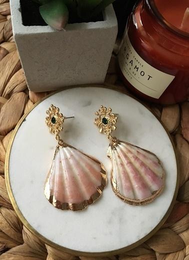 My Joyas Design Değal Deniz Kabuğu Küpe Sarı
